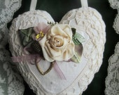 Victorian Lace Heart Sachet with Silk Ivory Rose--French Lavender and Ribbon Leaves--Battenburg Lace Heart