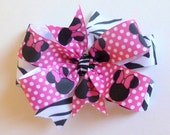 Minnie Mouse and Zebra Double Layer Hair Clip With Minnie Mouse Resin and Minnie Mouse Spikey Hair Bow