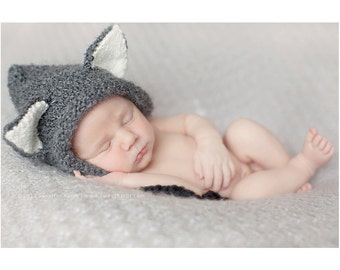 Knit Wolf Hat for 6-18 month Boy or Girl - Pixie Bonnet Animal Hat Photo Prop - Wolf Ears - Fairy Tales - Halloween