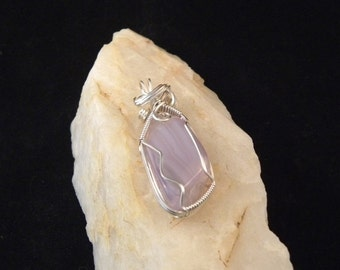 Holly Blue Agate Pendant Wire Wrapped in Argentium Sterling