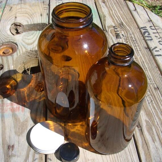 Vintage Brown Glass Medicine Bottles