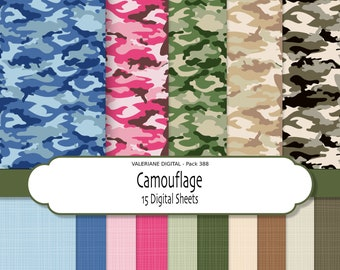 Camouflage Digital Paper for Scrapbooking, Photography, Web,  Stationary -INSTANT DOWNLOAD 20 jpg  files - Pack 388