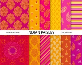 Paisley Digital paper pack in red pink and orange, digital backgrounds - 12 jpg files 12x12 - INSTANT DOWNLOAD  538