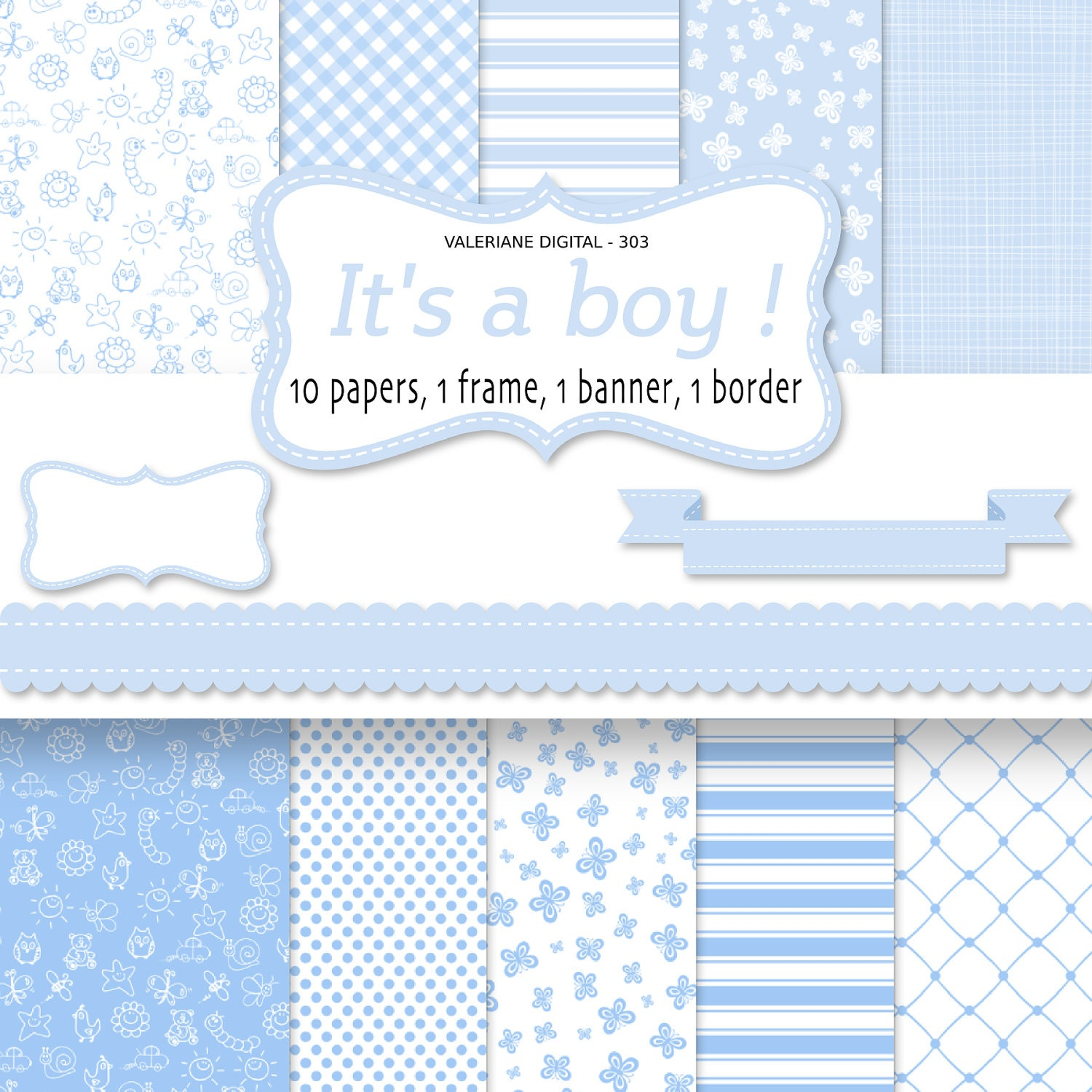Baby boy digital paper backgrounds Baby Digital paper baby