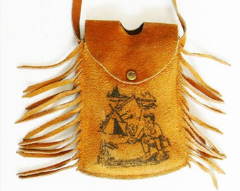 Vintage Leather Fringe Crossbody Bag Suede 1950s Kitsch