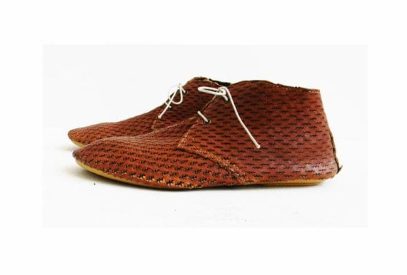 perforated leather flat boot cognac italy size by