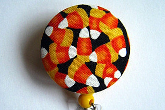 Candy Corn Badge Reel - Badge Reel  - Halloween Badge Holder - ID Badge Holder -Retractable Badge  - Nurse Gift - Fabric Badge Reel