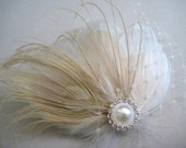 Wedding Bridal White Champagne Blush Peacock Feather Pearl Rhinestone Jewel Head Piece Hair Clip Fascinator Accessory