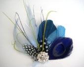 Wedding Bridal Teal Royal Blue Peacock Lime Green Feather Rhinestone Jewel Head Piece Hair Clip Fascinator
