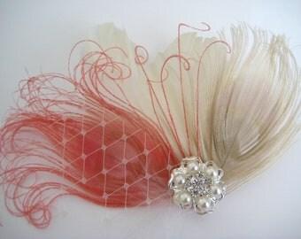 Wedding Bridal Ivory Coral Pink Peacock Feather Pearl Rhinestone Jewel Veiling Head Piece Hair Clip Fascinator