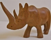 Hand Carved Wooden African Rhino