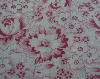 Beautiful Vintage Cotton Fabric Deep Rose Pink Roses Rosebuds White Flowers Pillows Patchwork Quilting Lavender Bags Feedsack