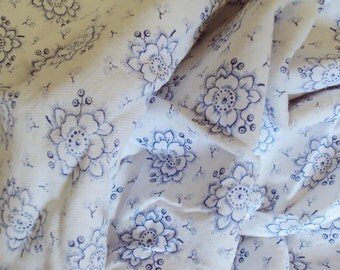 Vintage French Soft Flannel Fabric Blue Flowers Suitable for Patchwork Quilting Lavender Bags Feedsack Pillow