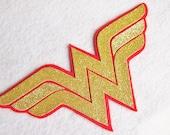 Glitter Wonder Woman Large Felt Superhero Patch PINK or RED - SALE