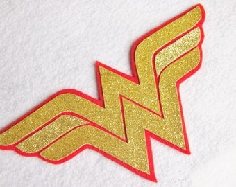 Glitter Wonder Woman Large Felt Superhero Patch