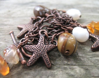 Beach Charm Bracelet, Antiqued Copper with Starfish, Freshwater Pearls, Jasper and Carnelian