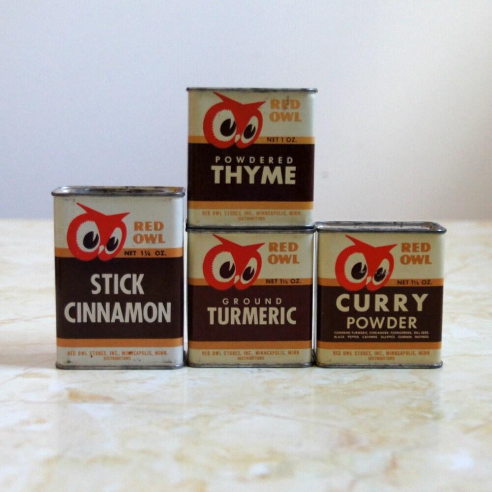 Red owl spice tins vintage kitchen decor instant collection for Kitchen decor collections