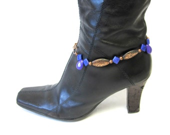 Western Bracelet Boot Bling Purple Stone Copper Concho Cowgirl