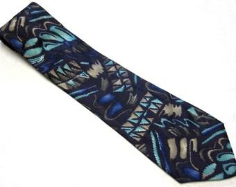 """Vintage Necktie Charles Jourdan Silk Tie 4""""  Wide Blue Tan Black"""