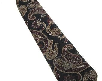 Vintage Necktie Polyester Tie Clipon Paisley Black Brown Maroon