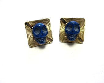 Day Of The Dead Cufflinks Blue Sugar Skull Cuff Links  Wedding Accessory
