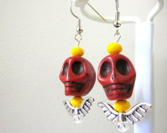 Day Of The Dead Earrings Sugar Skull Red Yellow Wings