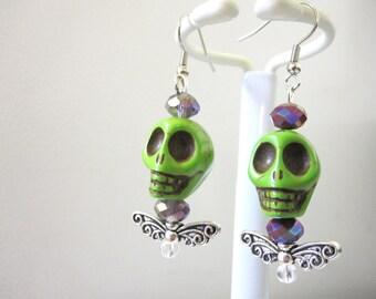Skull Earrings Wings Day of the Dead Earrings Sugar Skull Jewelry Hot Purple Green