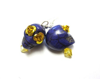 Skull Earrings Day of The Dead Jewelry Purple Gold Rose Sugar Skull