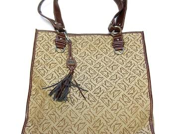 Brown Tote Purse Handbag Jones New York Rugged Durable Market Bag