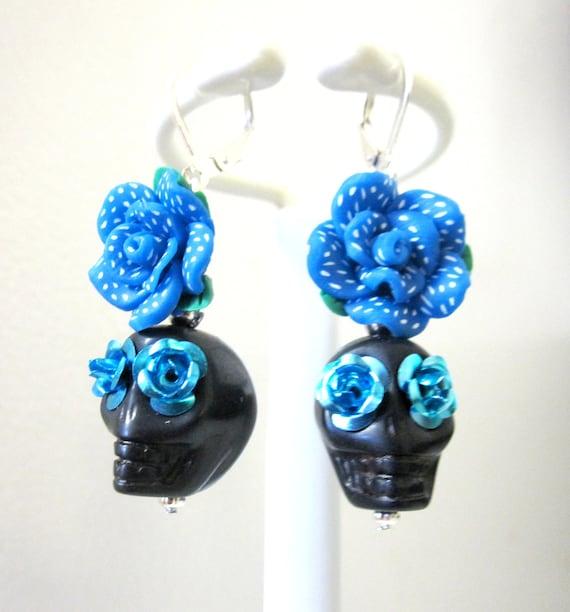 Sugar skull earrings day of the dead jewelry rockabilly for Day of the dead body jewelry