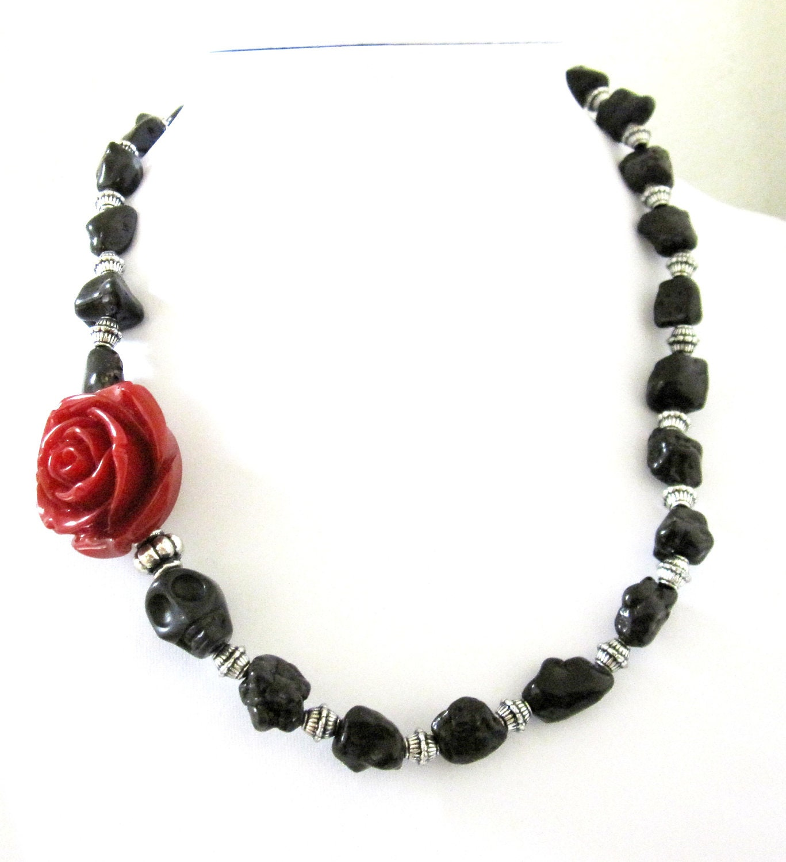 black skull necklace day of the dead sugar skull necklace