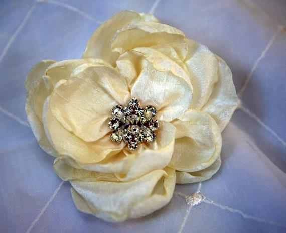 Ivory Flower Head piece -- Handmade Crystal flower Ivory
