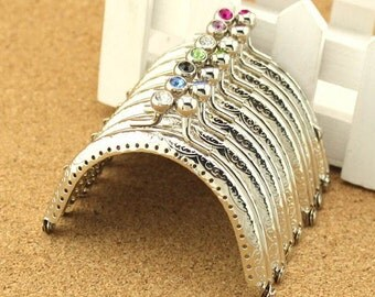 12%OFF 7PCS 8.5cm (3.35inch) silver sewing metal purse frame bag frame A185(7 colors)