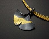 Custom order: Ginkgo leaf silver pendant with fine gold