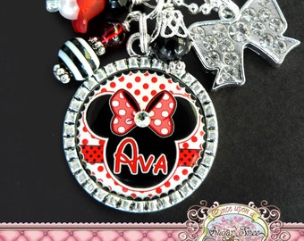 MINNIE MOUSE, Personalized RED Minnie Mouse Necklace, polka dot, Red, Children Jewelry, Present, Easter, Birthday Gift, Sister