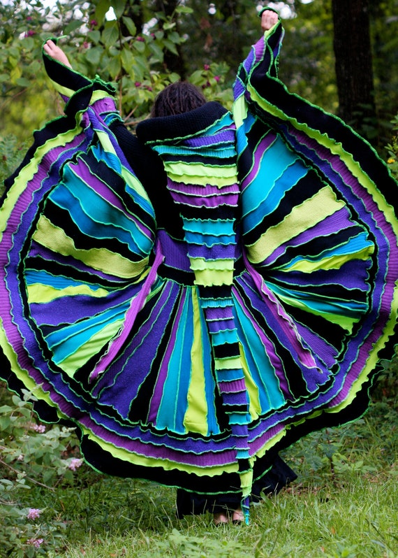 Ready Now UV Glow gypsy  faery  Halloween Rave patchwork Katwise style upcycled recycled sweater coat