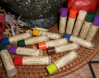 EARTH MOTHER Lip Balm Collection by Green Nymph - One .15 oz Clear Tube with Colored Cap - 15 NATURAL, Kissable Scents - Deliciously Fresh