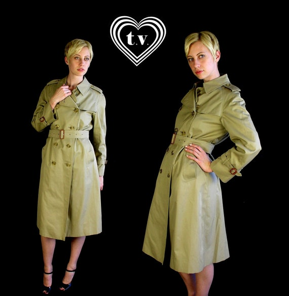 reserved for Aisha auth vtg 70s tan BURBERRY prorsum Nova Check belted TRENCH COAT Lg/Extra Large designer plaid jacket