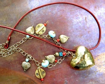 Bohemian Brass Leather and Charm Necklace - Red and Turqoise Necklace - Boho Chic Necklace