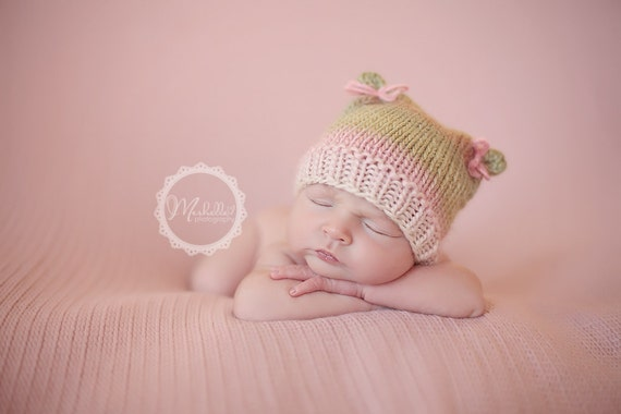 RTS LAST ONE,  Baby Girl Newborn Knitted Photo Prop Hat Pinks and Greens