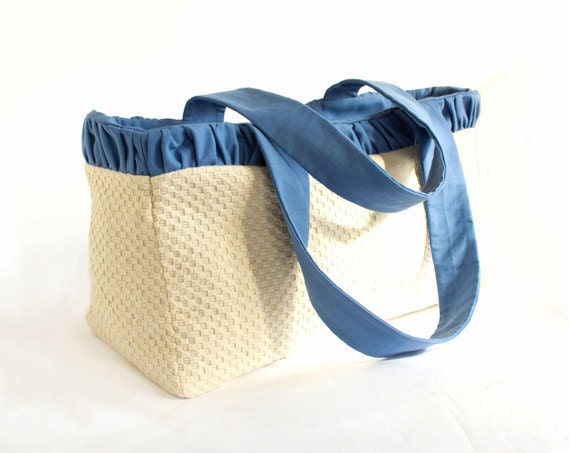 Ruched Beach Tote Bag in Natural White and Blue, Summer Accesories, Cotton Shopper