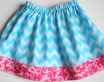 Blue Chevron Skirt -  Toddler Girl Skirt - Little Girls  Skirt - Newborn to Girls 7 Sizes