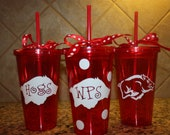 Arkansas Razorback Hogs 16 oz. Tumbler with Straw Your choice of color/pattern cup