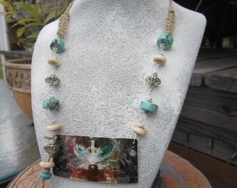 Art Deco Jewelry Handmade  jewelry Watercolor Art Boho  Jewelry OOAK Jewelry Hand Painted