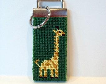 Needlepoint Kit, Giraffe Key Fob with monogram option