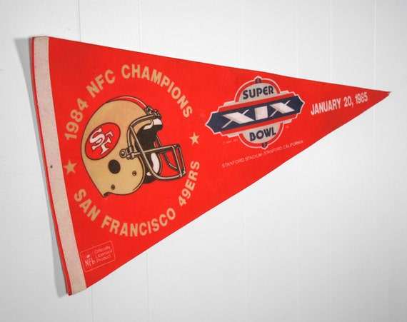 Large Vintage 1980's San Francisco 49ers Felt Pennant - Super Bowl XIX