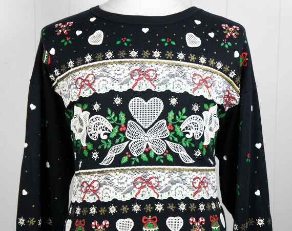 Vintage 1980's Ugly Christmas Sweater w/ Holly, Candy Canes & Ribbons - Size XL
