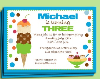 Boy's Ice Cream Party Invitation Printable or Printed with FREE SHIPPING