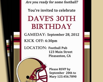 Football Tailgating Invitation Printable or Printed with FREE SHIPPING - You Pick Trim Colors