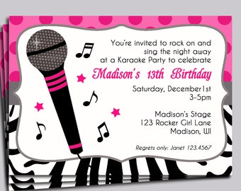 Hot Pink Zebra Invitation Printable or Printed with FREE SHIPPING - Sing, Microphone, Rock Star, Dance Party - Rock Star Diva